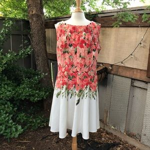 Gabby Skye fitted floral white drop waist dress 16